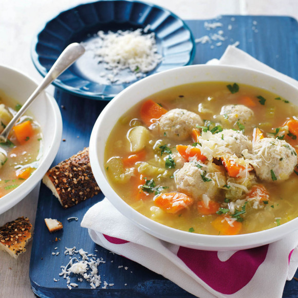 Chicken and vegetable meatball soup recipe