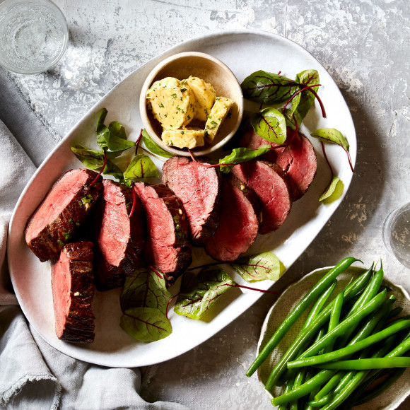 Eye fillet steak with flavoured butter