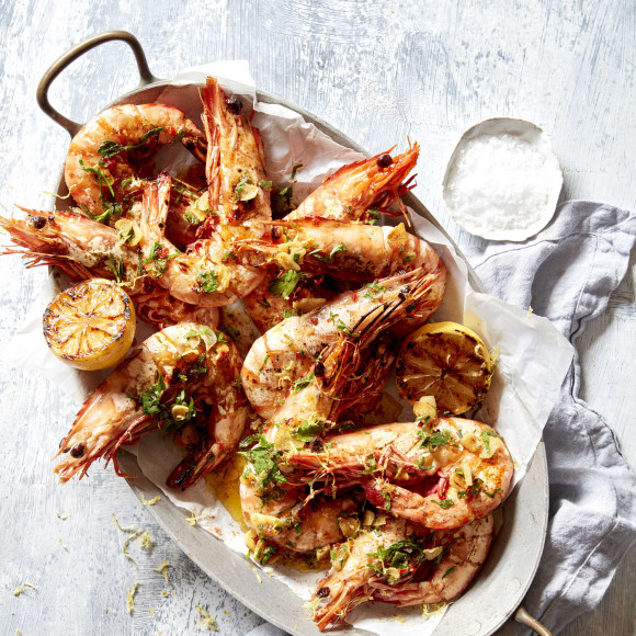 Quick BBQ prawns with Garlic and Chilli
