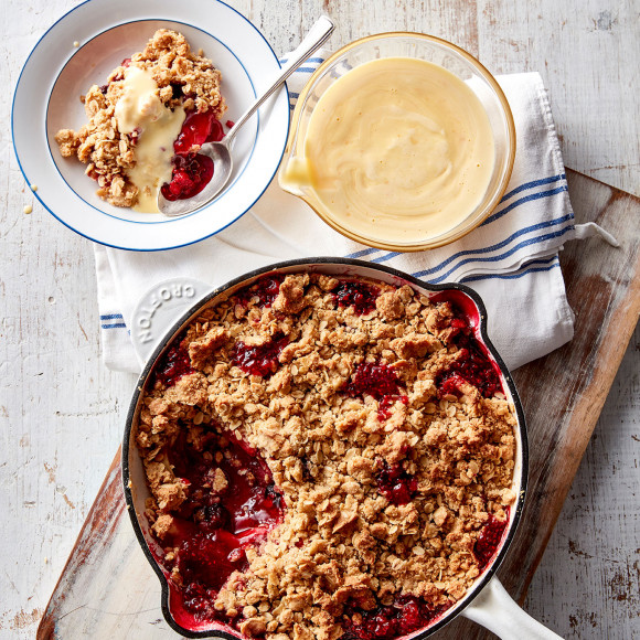 Apple And Berry Crumble With Orange Custard Recipe Myfoodbook
