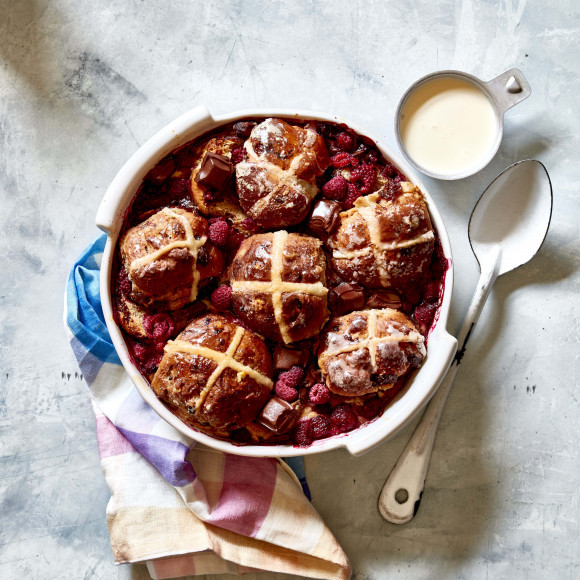 Easy Choc-Raspberry Leftover Hot Cross Bun Pudding