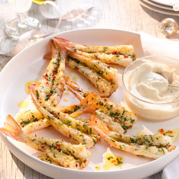 Grilled Lime and Chilli Prawns with Garlic Aioli