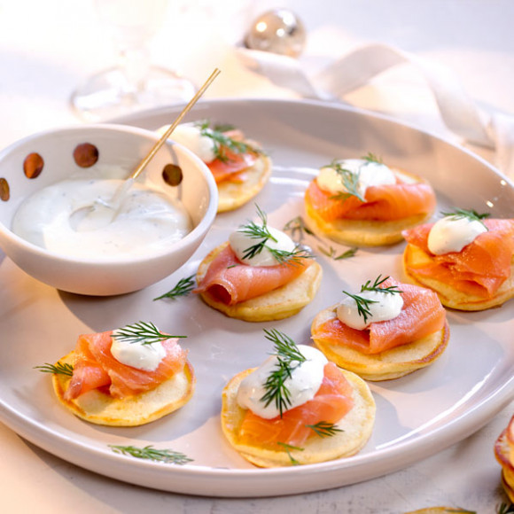 Blinis with Smoked Salmon and Dill Creme Fraiche