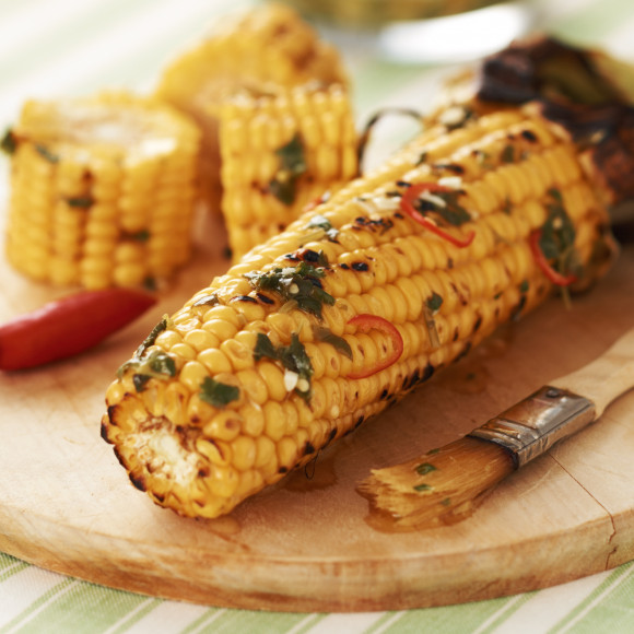 Barbecued Corn with Coriander and Chilli Butter