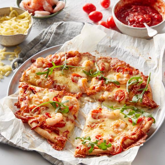 Home made Chilli Prawn Pizza