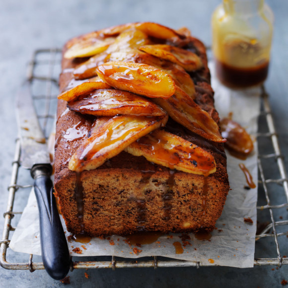 Best Banana bread with caramelised banana topping