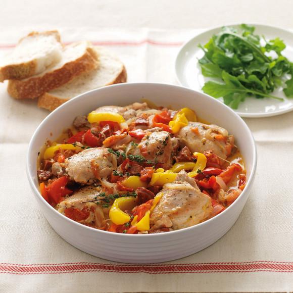Capsicum Tomato Chicken and Chorizo stew