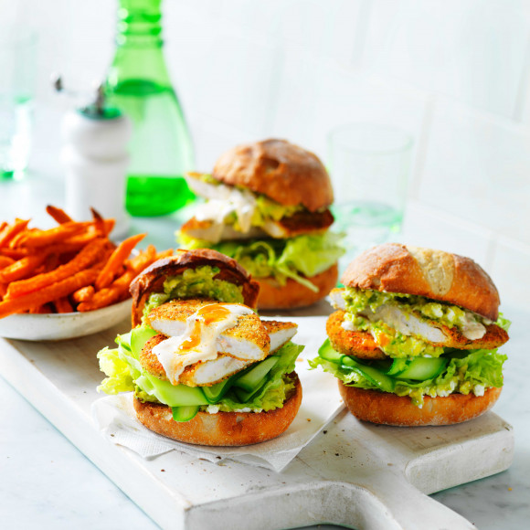 Healthier Chicken Schnitzel Burgers With Avocado Smash Recipe Myfoodbook Best Chicken Schnitzel Burger