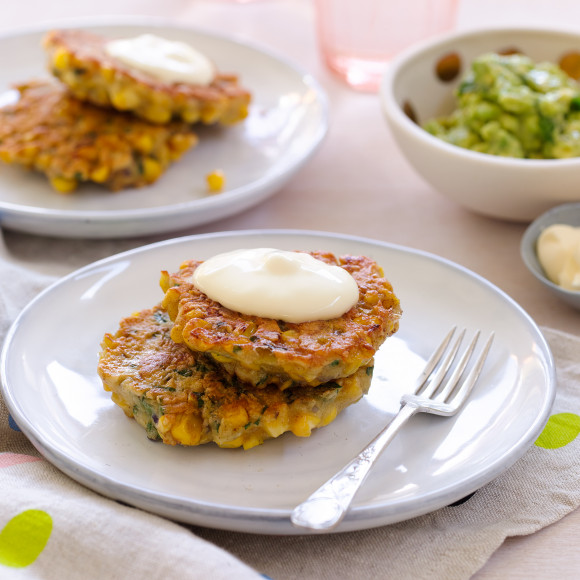 Sweetcorn Fritters with Avocado Smash Recipe