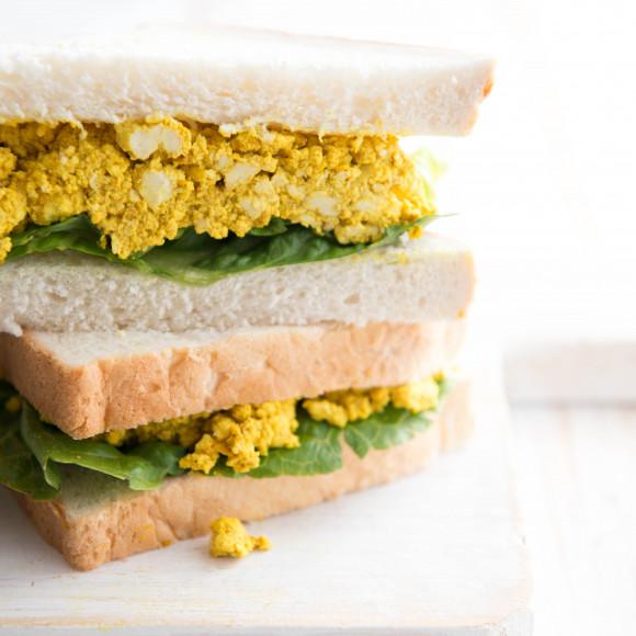 Curried eggless tofu sandwiches Recipe