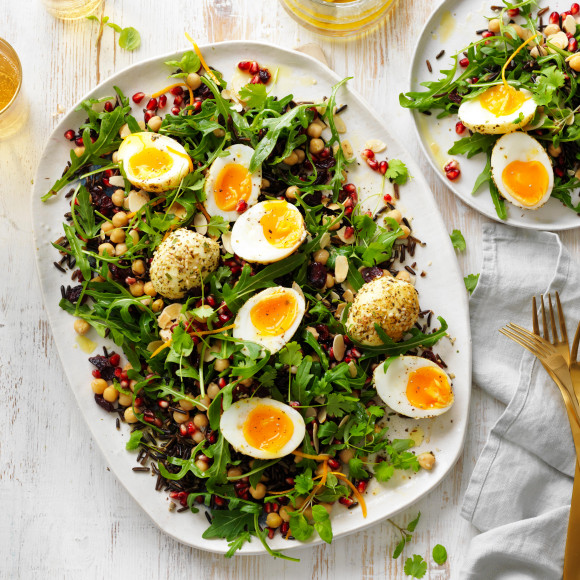 Wild rice, dukkha egg and pomegranate salad