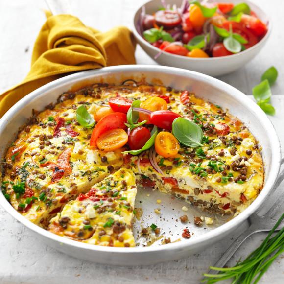 Healthy Lentil and Feta Frittata recipe