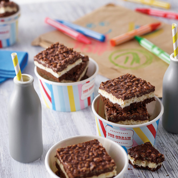 Kids Party Layered Chocolate Crackle Slice