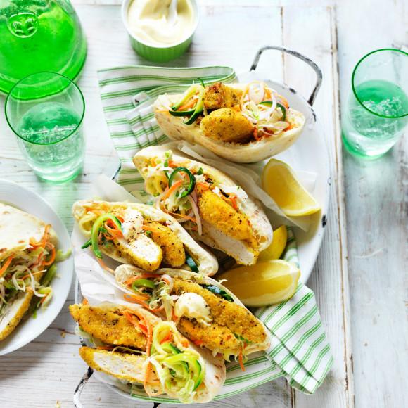 Lemon and Pepper Chicken, Zucchini Slaw Pita Pockets