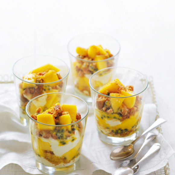 Layered desserts in a glass like this mango and passionfruit with ginger nut crumb and mascarpone are deliciously easy. Think of it as a trifle in a glass.