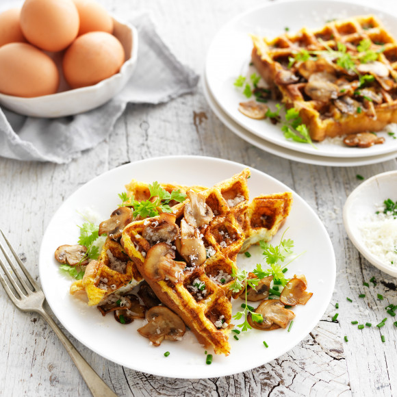 Low carb waffle with mushrooms and eggs