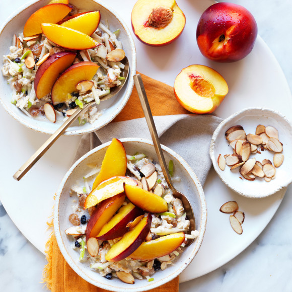 Almond milk oats made with apples and nectarines