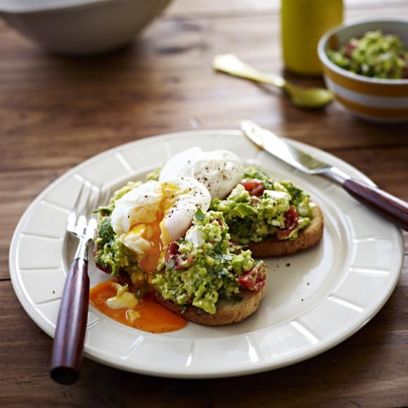 Poached Eggs with Avocado & Feta Smash on Sourdough Toast