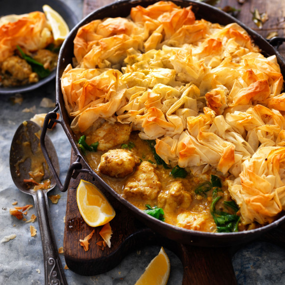 Curried fish pie with filo pastry