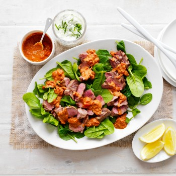 BBQ Lamb And Spinach Salad recipe