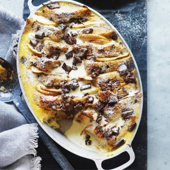 Pear and Chocolate Bread and Butter Pudding recipe