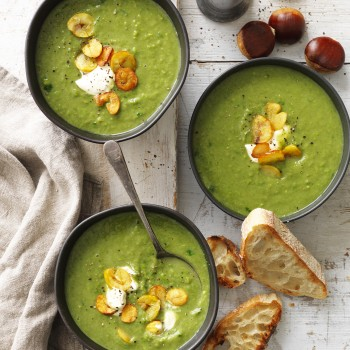 Chestnut, Spinach and Green Pea Soup recipe