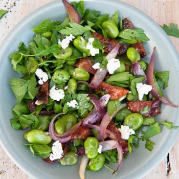 Broad Bean and Chorizo Salad