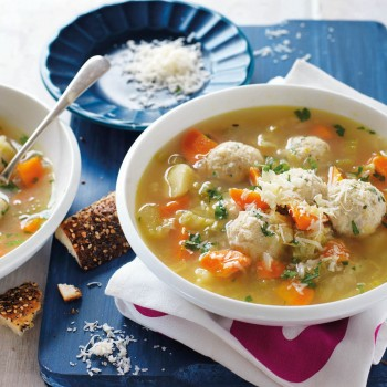 Soup with Chicken, vegetables and meatballs