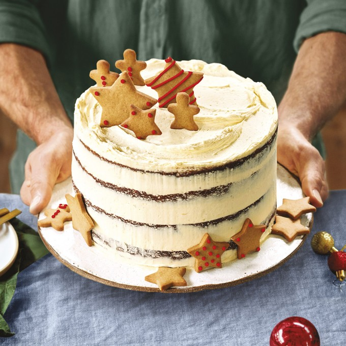 Gingerbread layer cake for Christmas