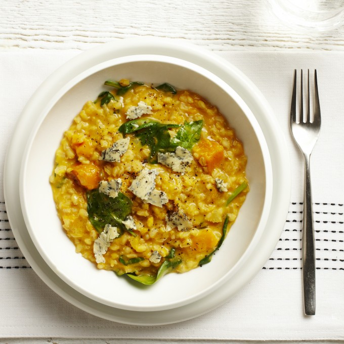 pumpkin, Spinach and Blue Cheese Barley Risotto